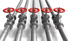 Pipelines with valves Stock Photos