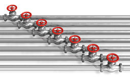 Pipelines with valves Royalty Free Stock Images