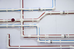 pipelinewith塑料管的计划 库存图片