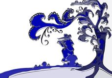 Artistic Piper sitting under a tree. A flute player who plays under a tree, sitting on a mushroom. An abstract illustration of colour blue, indicating the Royalty Free Stock Images