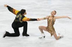 Piper GILLES / Paul POIRIER CAN). PARIS - NOVEMBER 17: Piper GILLES / Paul POIRIER of Canada perform free dance at the ISU Grand Prix Eric Bompard Trophy on Stock Image