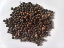 Piper Nigrum Black Pepper Pile. The pile of dried black peppercorns on white plate Stock Photos
