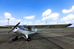 Piper PA-18-95 Super Cub D-EKYL. Blue and white Piper PA-18-95 Super Cub D-EKYL Stock Photo