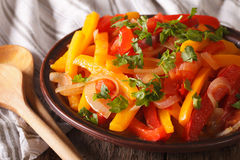 Piperade开胃菜:与蕃茄和葱clos的被炖的胡椒 库存照片
