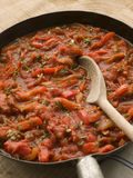 Piperade in a Saut Pan Royalty Free Stock Image