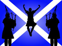 Pipers and highland dancer Royalty Free Stock Photography