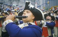 Pipers Marching in American Bicentennial Parade, Philadelphia, Pennsylvania Royalty Free Stock Image