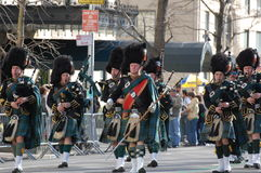 Pipers in New York's St. Patrick's Day Parade. A bagpipe band marches down 5th Avenue in the New York City Saint Patrick's Day Parade Stock Photography