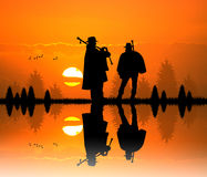 Pipers at sunset Royalty Free Stock Image