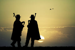 Pipers at sunset Royalty Free Stock Photography
