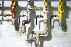 Pipes 1. Oil pipes and valves at a lubricant manufacturing plant Royalty Free Stock Photography