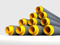 Pipes. Group of yellow and gray pipes stock illustration