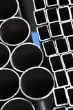 Pipes. Materials for construction, pipes, round, rectangular Royalty Free Stock Images