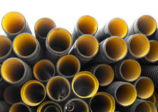 Pipes. Plastic sewage corrugated flexible pipes Royalty Free Stock Photography