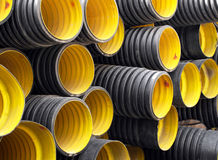 Pipes. Plastic sewage corrugated flexible pipes Royalty Free Stock Photos