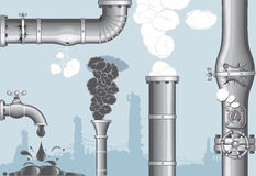 Pipes. Industrial accident objects.Chimney with Smog and steam , damaged pipeline, cracked pipe, broken faucet,leakage royalty free illustration
