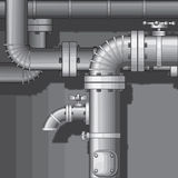 Pipes. Industrial Background with faucet vector royalty free illustration