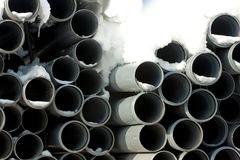 Pipes. The end of some pvc pipes Royalty Free Stock Photography