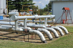 Pipes. Oil tanks and pipes. production Stock Photos