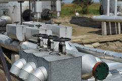 Pipes. Oil tanks and pipes. production Stock Photography