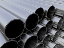 Pipes. Shiny and reflective pipes. Computer render Royalty Free Stock Photo