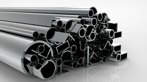 Pipes. 3d render of  metal pipes on a reflecting surface Stock Images