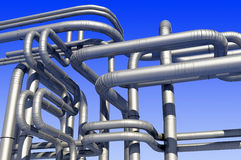 Pipes. Metal pipe against the blue sky Stock Photos