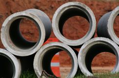 Pipes. Concrete Sewer pipes Royalty Free Stock Images