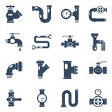 Pipes Black White Icons Set Stock Photography
