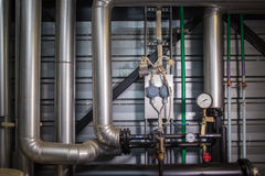 The pipes in the boiler room. Metal pipes boiler for heating royalty free stock images
