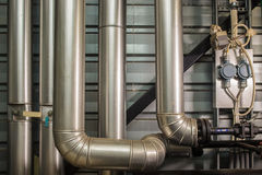 The pipes in the boiler room. Metal pipes boiler for heating Royalty Free Stock Photo