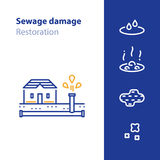 Pipes break, leaking water, sewer damage concept icon Stock Photo
