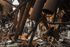 Pipes from Burned Down Factory Stock Photography