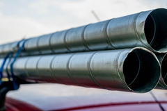 Pipes on a car roof stock images