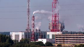 The pipes of a chemical plant. In the summer away stock video footage