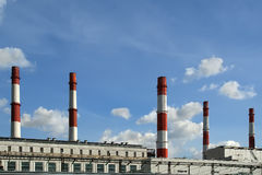 Pipes of coal  burning power station Stock Photography