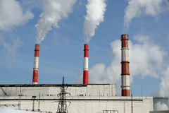 Pipes of coal  burning power station. Stock Photography