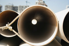 Pipes on a construction site stock image