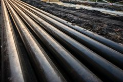 Pipes at construction site Royalty Free Stock Image