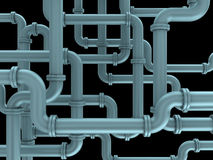 Pipes. 3d illustration of pipes system over black background Royalty Free Stock Image