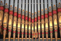 Pipes d'organe décoratives d'église image libre de droits