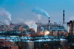 Pipes dans le district industriel Images libres de droits