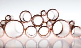 Pipes de cuivre de diamètre différent Images stock
