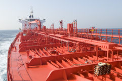 Pipes on the deck of the tanker. Grude oil ship stock images