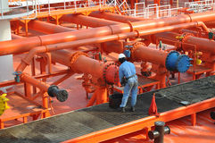 Pipes on the deck of the tanker Royalty Free Stock Photos