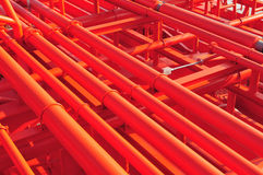 Pipes on the deck of the tanker Royalty Free Stock Images