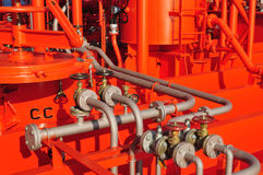 Pipes on the deck of the tanker Royalty Free Stock Photo