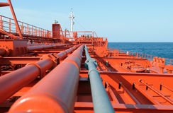 Pipes on the deck of the tanker. Grude oil ship stock image
