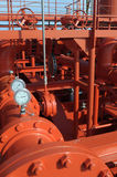 Pipes on the deck of the tanker. Grude oil ship royalty free stock photography