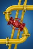 pipes den industriella pipelinen för områdesdetaljgas stålyellow Royaltyfri Foto
